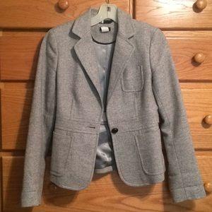 J. Crew Gray Herringbone Wool Blazer